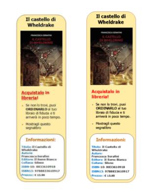 segnalibro scarcabile gratis informativo de il castello di wheldrake by Francesca Serafini, scaricabile gratis